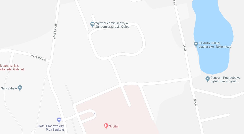 Mapa dojazdowa do Wydziału Zamiejscowego