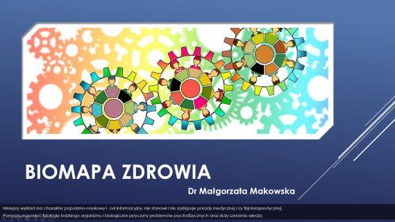 Biomapa zdrowia grafika z kołami zębatymi promująca wyklad dr małgorzaty makowskiej