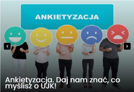 Napisa ankietyzacja, ludzie z maskami przedstawiającymi emotikony z poziomem zadowolenia