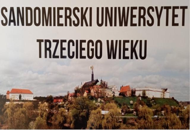 Panorama Miasta sandomierz z napisem sandomierski uniwersytet trzeciego wieku